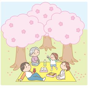 家族でお花見を楽しんでいるイラスト