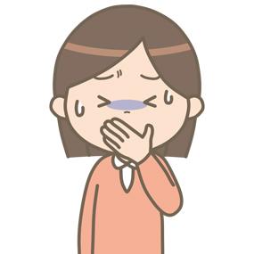 嘔気を催す患者(女性)のイラスト