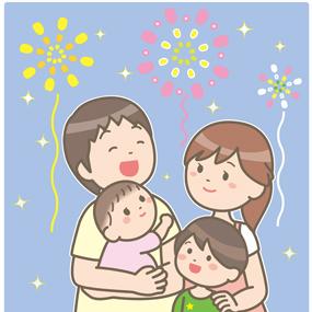 花火を見る家族のイラスト