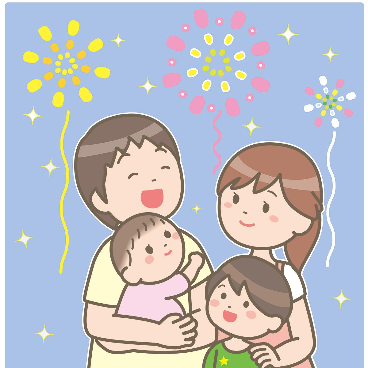 花火を見る家族のイラスト🎨【フリー素材】|看護roo![カンゴルー]