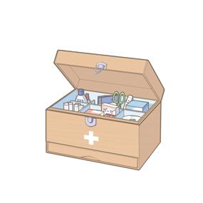 フタが開いている救急箱のイラスト