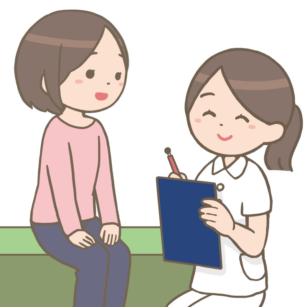 看護師が外来患者に問診しているイラストフリー素材看護roo