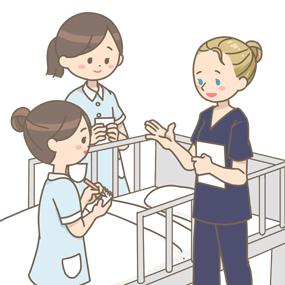 外国人の看護師が日本の看護学生に指導しているイラスト