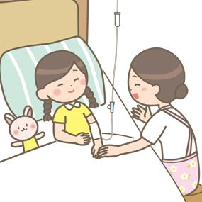 看護師さんが小児科の子供と触れ合っているイラスト