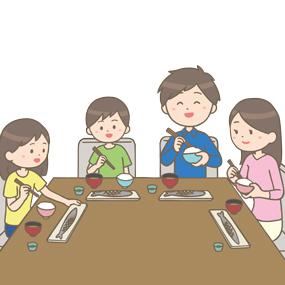 家族で食事をしているイラスト