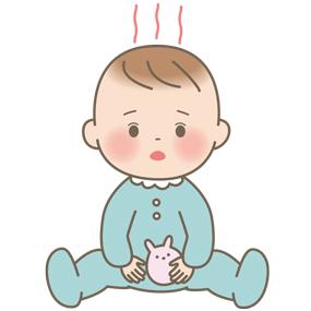 発熱している赤ちゃんのイラスト