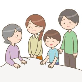 家族と過ごす高齢患者さんのイラスト
