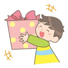 プレゼントをもらって喜んでいる子どものイラスト