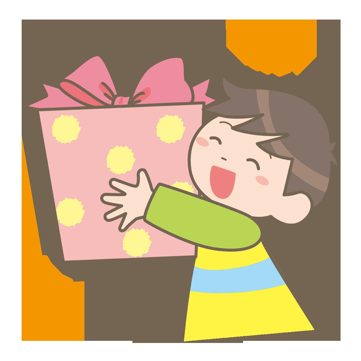 プレゼントをもらって喜んでいる子どものイラストフリー素材看護
