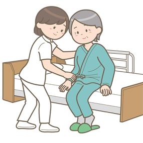 看護師と一緒に離床する高齢女性患者さんのイラスト