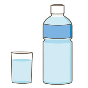 ペットボトルと水を注いだグラスのイラスト