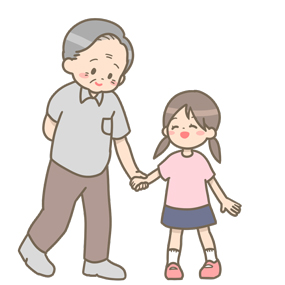 おじいちゃんと孫が手をつないでいるイラスト
