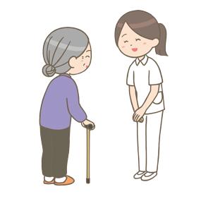 患者さんに挨拶をしている看護師さんのイラスト