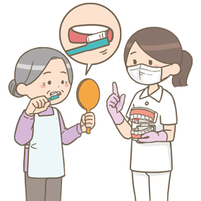 歯科衛生士さんが高齢の女性に歯磨きの指導をしているイラストです。歯の模型を用いて説明をし、高齢女性は鏡で自分の歯を確認しています。