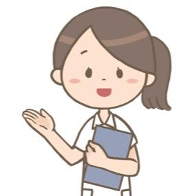 紙カルテを持った看護師が患者さんを案内しているイラスト※上半身のみ