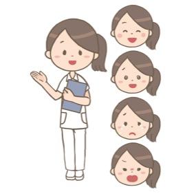 紙カルテを持った看護師が患者さんを案内しているイラスト※表情5パターン