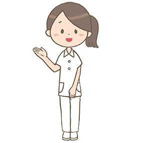 案内をする看護師の全身イラスト