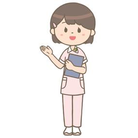 紙カルテを持った看護学生が患者さんを案内しているイラスト※全身