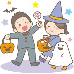 子ども達がハロウィンを楽しんでいるイラスト