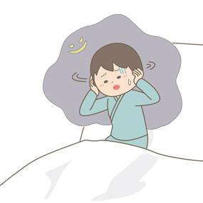 青年期の精神科の患者さんが、意欲低下や幻覚症状に悩んでいるイラストです。