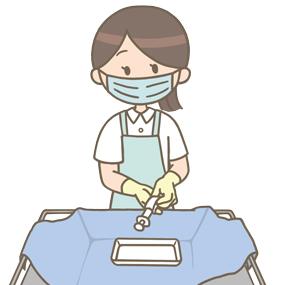 滅菌物を取り扱う看護師のイラスト