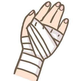 手に包帯を巻いているイラスト