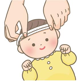 赤ちゃんの頭囲測定をするイラスト