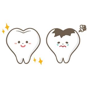 健康な歯と虫歯のキャラクターイラストフリー素材看護roo