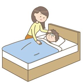 熱を出した子どもを看病する母親のイラスト