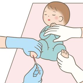 新生児がヒールカットで採血(ガラス管)しているイラスト