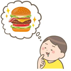 高カロリーな食べ物を我慢している人のイラスト