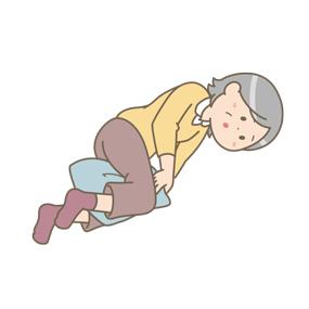 人工股関節全置換術後の患者さんが側臥位をとるイラスト