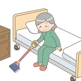 人工股関節全置換術をうけた患者さんが床に落ちたものをひろうイラスト