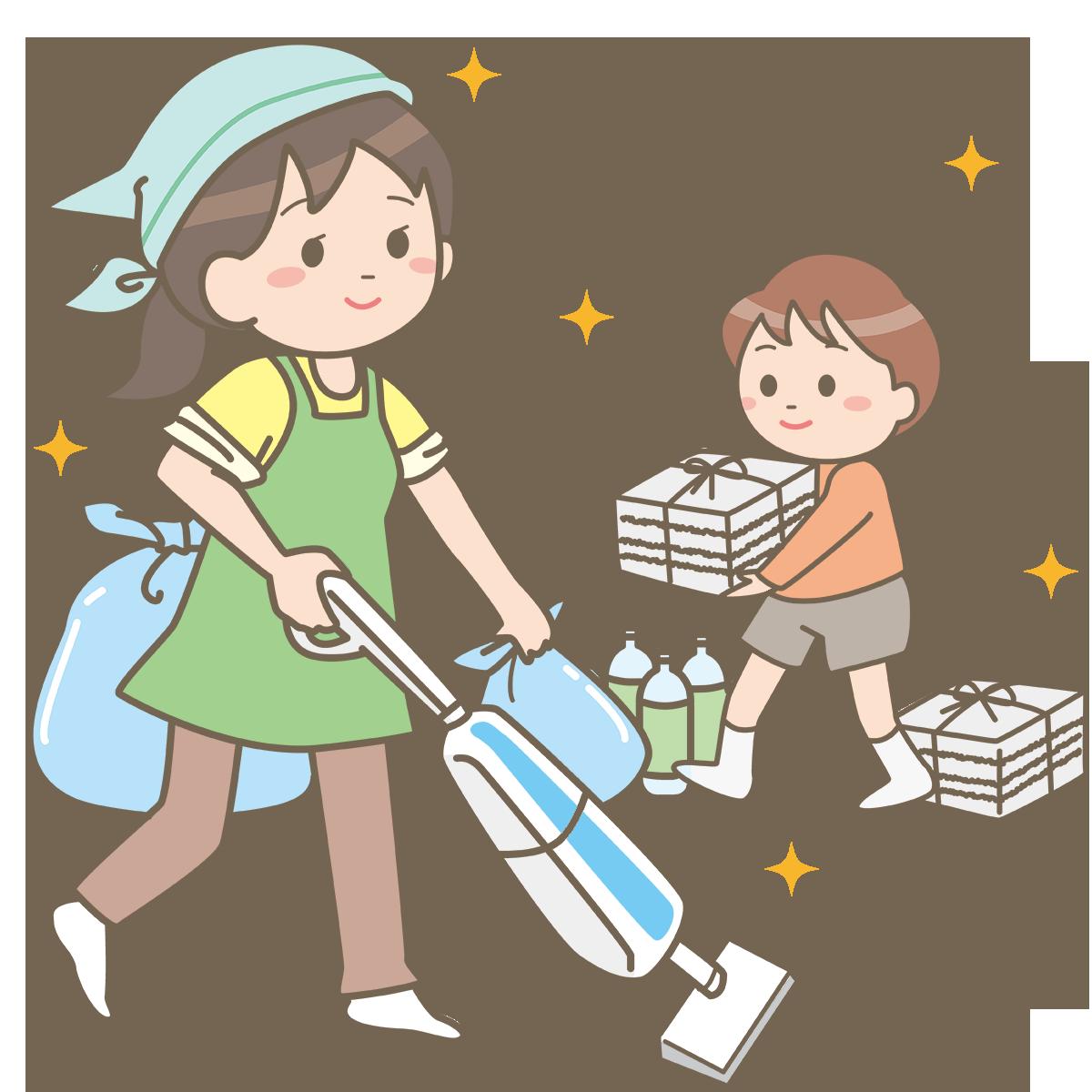 大掃除をする親子のイラストフリー素材看護rooカンゴルー