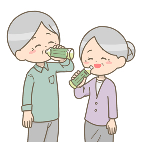 ペットボトルのお茶を飲む高齢夫婦のイラスト