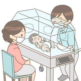 保育器入っている赤ちゃんを笑顔で見つめている両親のイラスト