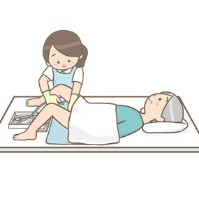 膀胱留置カテーテル挿入のイラスト