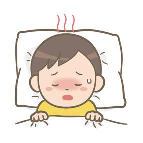 発熱している幼児(男子)のイラスト