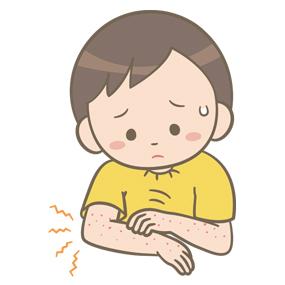 発疹が出ている幼児(男子)のイラスト