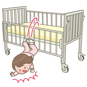 小児(幼児)が小児用ベッドから転落するイラスト