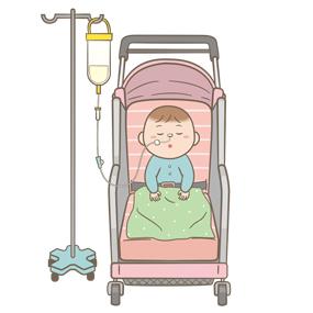 経鼻経管栄養中の幼児のイラスト