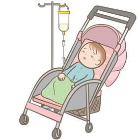 胃ろう・腸ろうから経管栄養を注入する幼児のイラスト