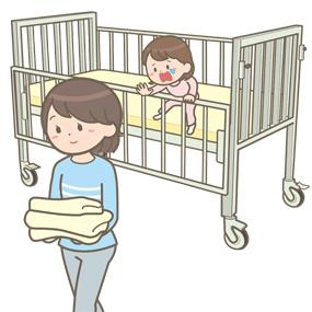 小児(幼児)が母親が目を離した隙にベッド柵から身を乗り出すイラスト