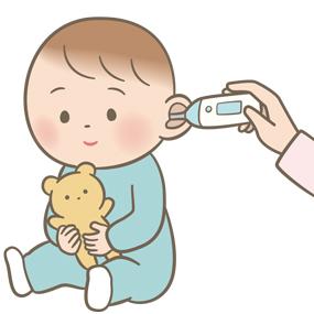 耳式体温計で体温測定をする乳幼児のイラスト
