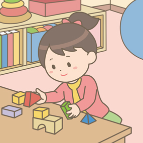リハビリをしている幼児のイラスト