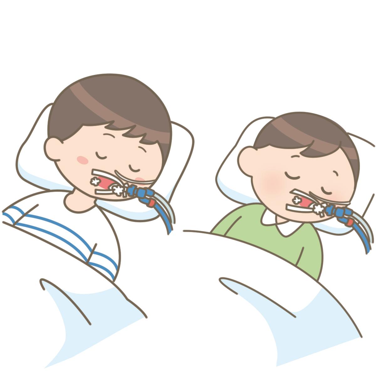 経口挿管をしてむせこんでいる幼児と学童のイラストです