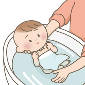 気管切開をしている乳児が沐浴をするイラスト
