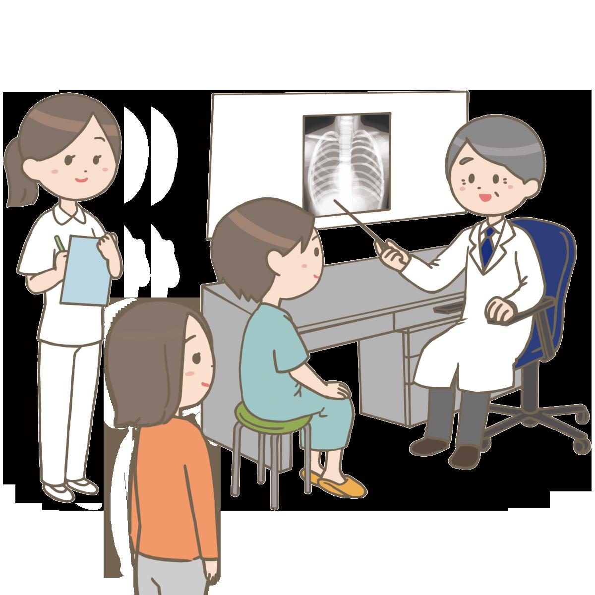 患者さんとご家族のicをとるイラストフリー素材看護rooカンゴルー