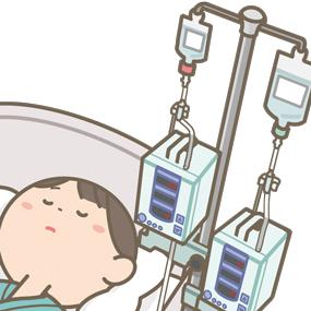 輸液ポンプが患者さんの頭上に設置されており、頭部を打つなどの危険性があるイラスト