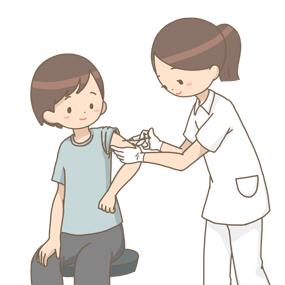 患者さんに注射をする看護師のイラスト